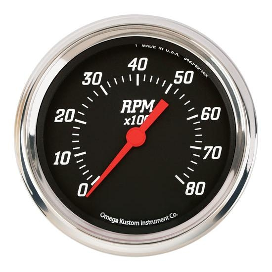 Omega Kustom 8000 RPM Tachometer Gauge, 3-3/8, Black Top