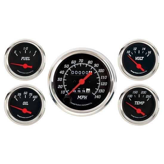 Omega Kustom 5-Gauge Set, Black Top, 3-3/8, Mechanical
