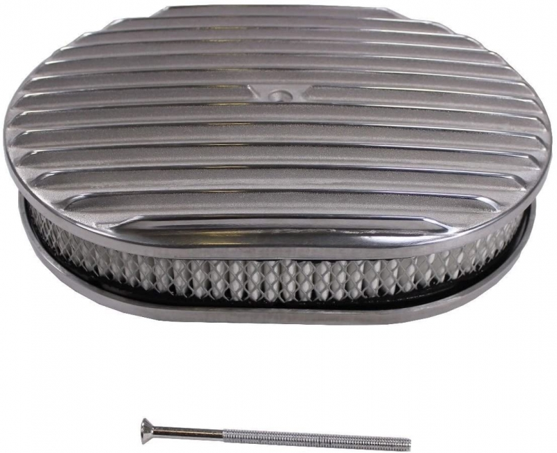 """12"""" x 2"""" Oval Full Finned Polished Aluminum Air Cleaner Assembly 12x2 Retro"""