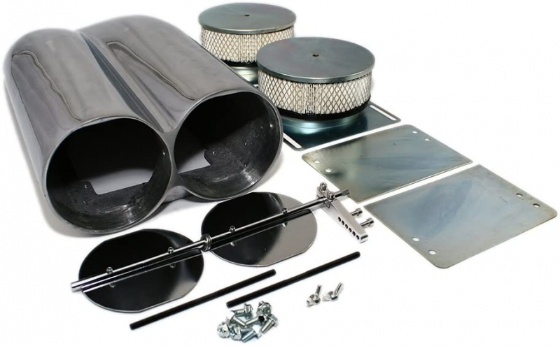 Polished Aluminum Smooth Top Shotgun Intake Air Scoop Single & Dual Carb Setup